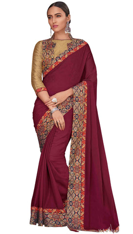 Burgundy Georgette Party Wear Saree With Blouse