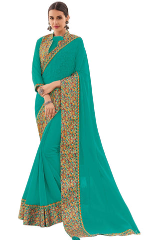 Turquoise Blue Chiffon Party Wear Saree With Blouse