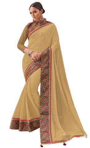 Beige Chiffon Party Wear Saree With Blouse