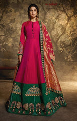 Pink Silk Party Wear Anarkali Dress With Pink Dupatta