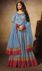 Blue Silk Party Wear Anarkali With Blue Dupatta