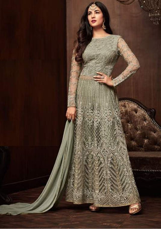 Sliver Grey Net Anarkali Salwar Suit With Sliver Grey Dupatta