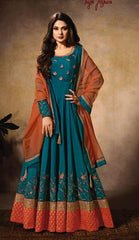 Cyan Silk Party Wear Anarkali Suit With Brown Dupatta
