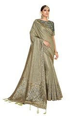 Grey Silk Georgette Party Wear Saree With Blouse