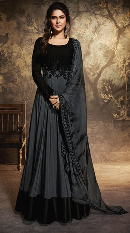 Black Pure Chanderi Silk Party Wear Suit With  Dupatta