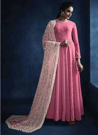 Pink Georgette Party Wear Anarkali Suit With Off White Dupatta