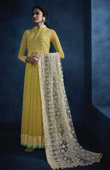 Yellow Georgette Party Wear Anarkali With Off White Dupatta