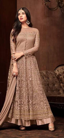 Golden Net Anarkali Suit With Golden Dupatta