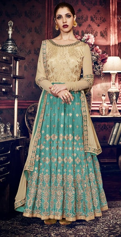 Beige and Aqua Green Handloom Silk Embroidered Anarkali Suit With Dupatta
