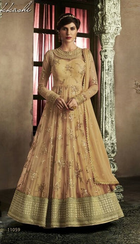 Light Orange Net With Zari Embroidery Anarkali Dress With Dupatta
