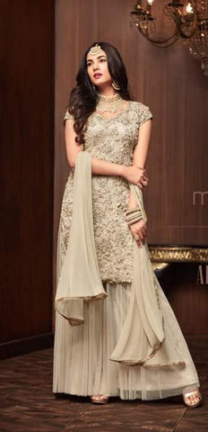 Off White Net Anarkali Salwar Kameez With Off White Dupatta