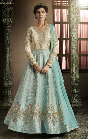Off White And Blue Combo With Floral Embroidery Anarkali Dress With Dupatta