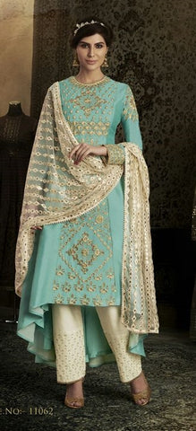 Blue Off White Combo With Embroidery On Silk Anarkali With Dupatta