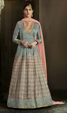 Bluish Grey Silk Anarkali In Thread Work WIth Dupatta