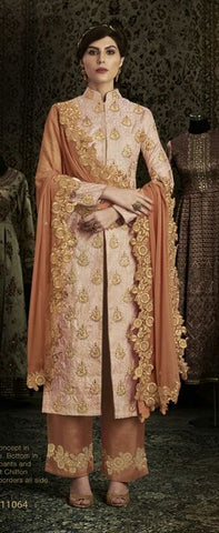 Peach And Rust Orange Combo Brocade Anarkali With Dupatta
