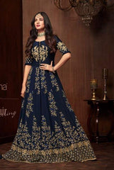 Blue Georgette Anarkali Salwar Suit With Blue Dupatta