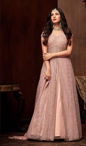 Pink Net Anarkali Suit With Pink Dupatta