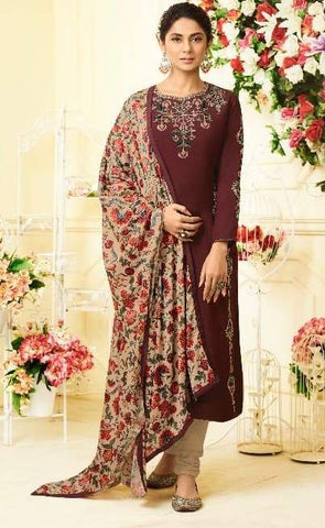 Maroon Silk Party Wear  Salwar Suit With  Dupatta