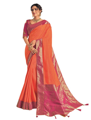 Orange Dual Tone Silk Georgette Party Wear Saree With Pink Blouse