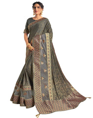 Grey Fancy Silk Party Wear Saree With Grey Blouse