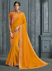 Yellow Chiffon Party Wear Saree With Yellow Blouse
