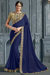 Navy Blue Chiffon Party Wear Saree With Beige Blouse