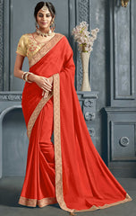 Orange Chiffon Party Wear Saree With Beige Blouse