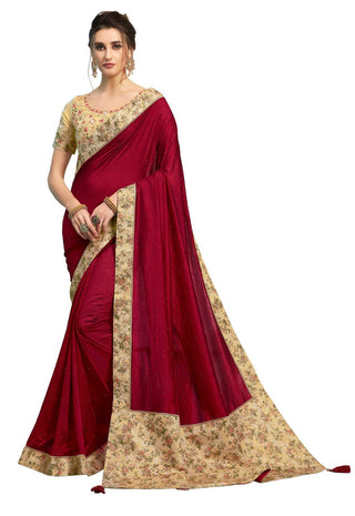 Burgundy Poly Silk Party Wear Saree With Beige Blouse