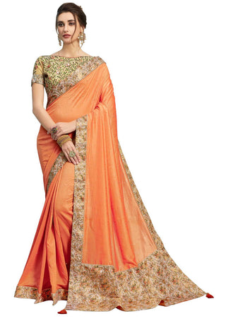 Orange Poly Silk Party Wear Saree With Beige Blouse