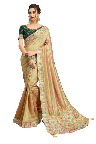 Gold Poly Silk Party Wear Saree With Green Blouse