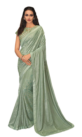 Aqua Blue Embossed Lycra Party Wear Saree With Aqua Blue Blouse