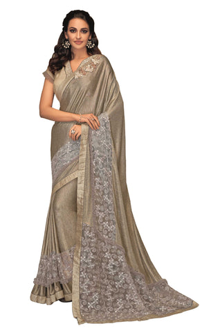 Gold Fancy Lycra Embellished Net Party Wear Saree With Beige Blouse