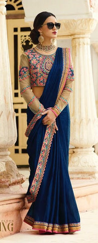 Navy Blue Designer Saree With Embroidered Blouse