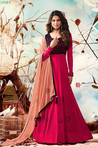 Red Georgette Anarkali Style Suit With Dupatta