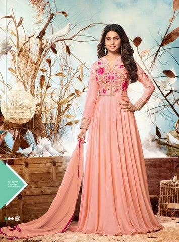 Peach Embroidery Gown Style Anarkali Suit With Dupatta