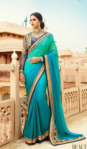Peacock Blue Party Wear Saree With Embroidered Blouse
