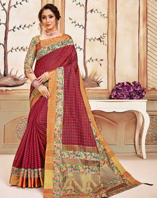 Red Cotton Casual Wear Saree With Multi Blouse