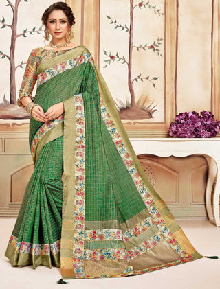 Green Cotton Casual Wear Saree With Gold Blouse