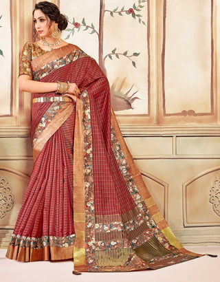 Red Cotton Casual Wear Saree With Gold Blouse