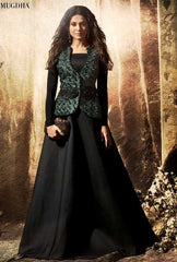Black Velvet Party Wear Anarkali With Black Dupatta