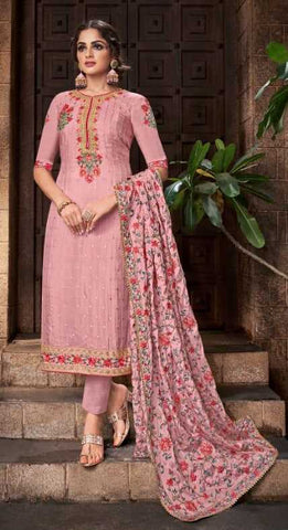 Pink Viscose Chinon Party Wear Salwar Suit With  Dupatta