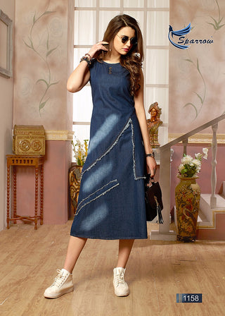 Blue  Denim Knee Length Sleevless Kurti