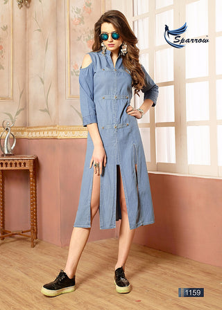 Light Blue Denim Cold Shoulder Slitted Kurti