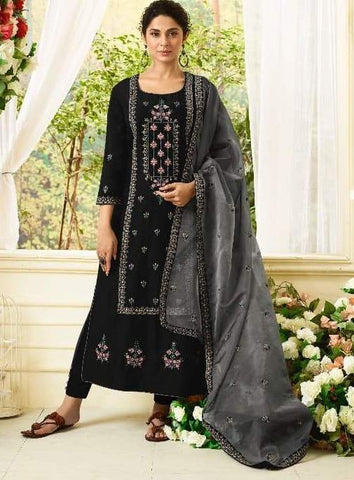 Black Silk Party Wear  Suit With  Dupatta
