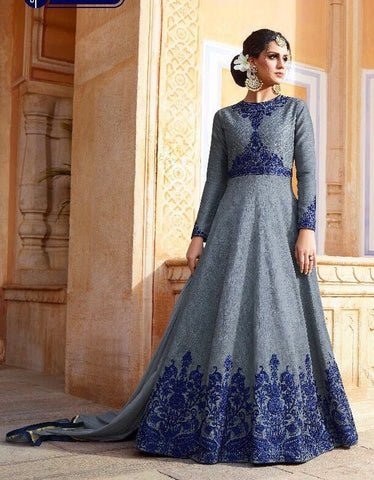 Bluish Grey Silk Full Sleeves Anarkali Suit With Dupatta