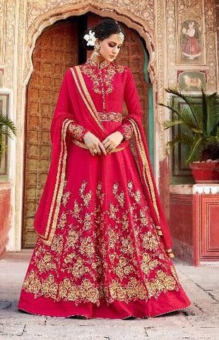 Red Silk Net Embroidered Anarkali Type Dress With Dupatta