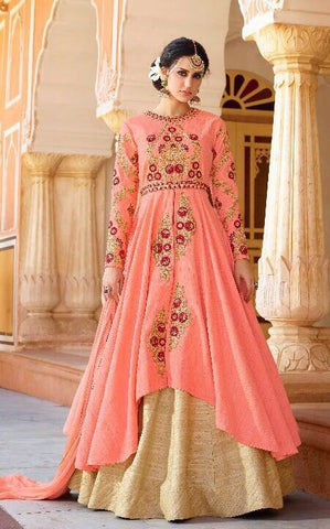 Peach Silk Embroiderd Gown Style Anarkali Dress With Dupatta