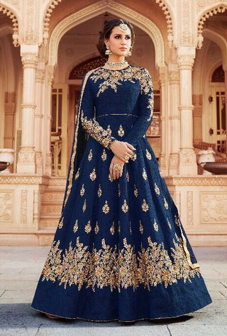 Blue Embroidered Silk Abaya Style Gown Style Anarkali