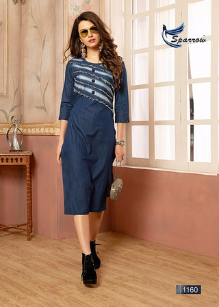 Denim Elbow Length Sleeves Kurti