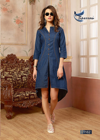 Blue Denim Uneven Front Slit Kurti